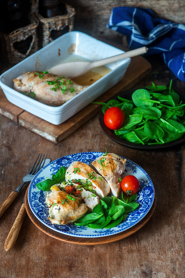 Chicken breast with vegetable filling