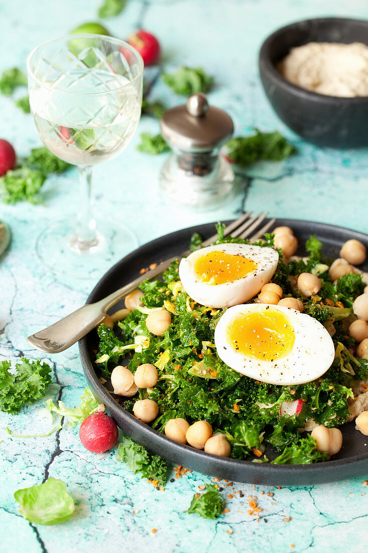 Massaged Kale and Chickpea Salad with Soft Boiled Egg