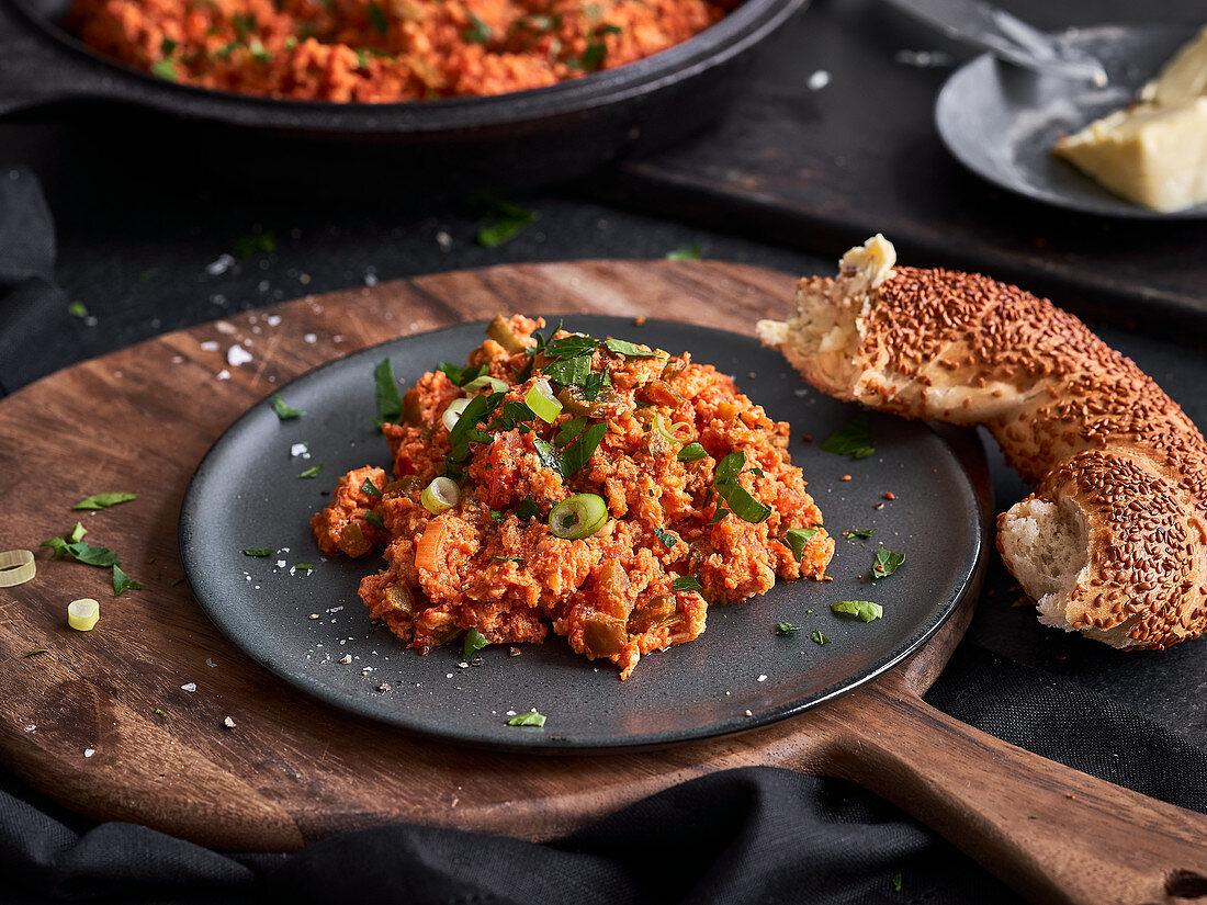 Mememen (fried vegetables with scrambled egg, Turkey)