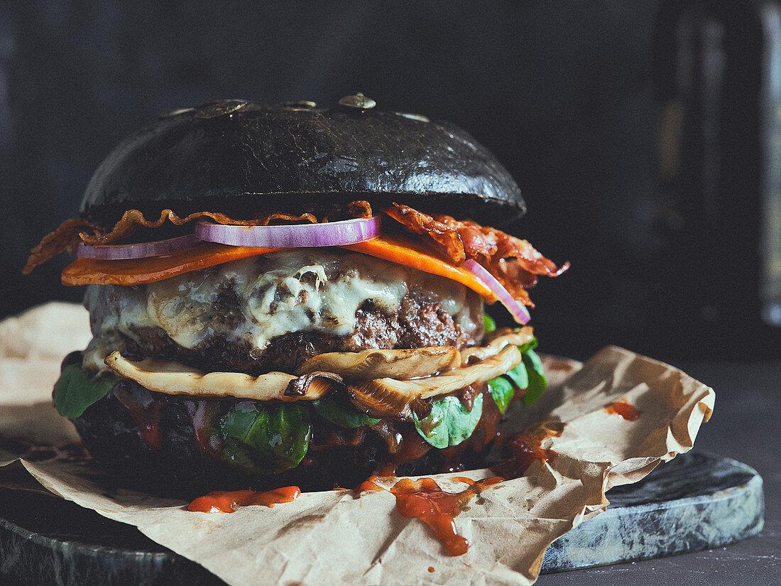 A black Halloween burger