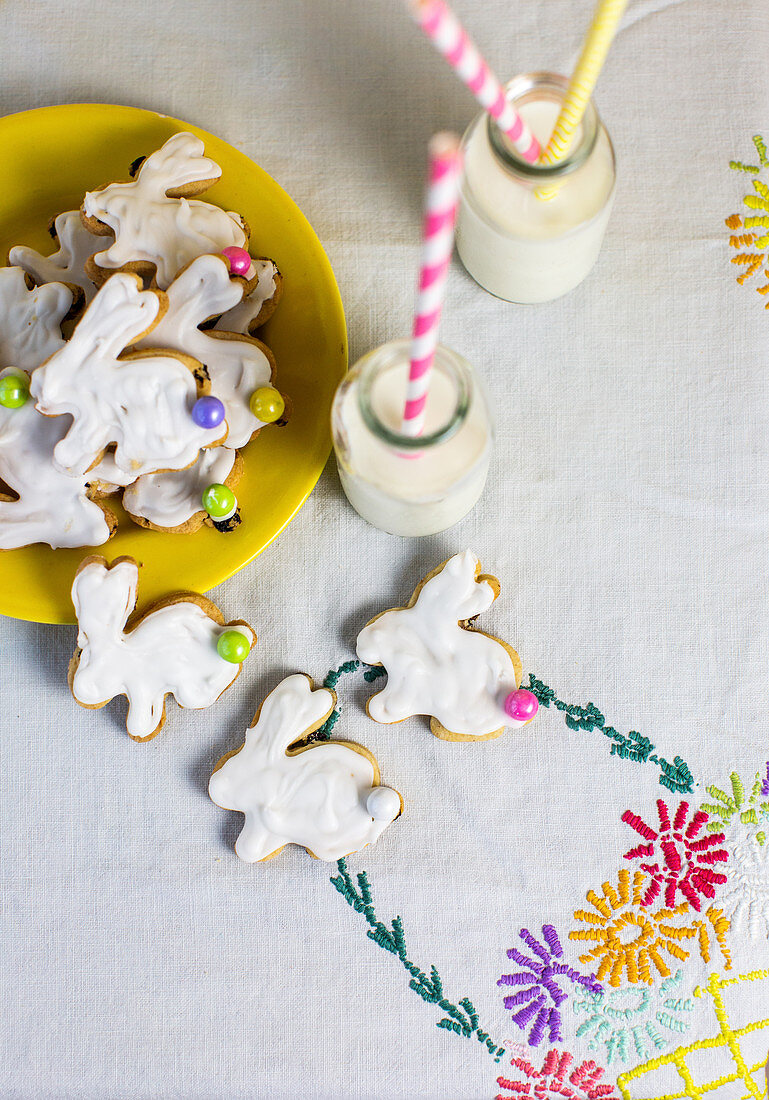 Easter bunny biscuits and bottles of milk