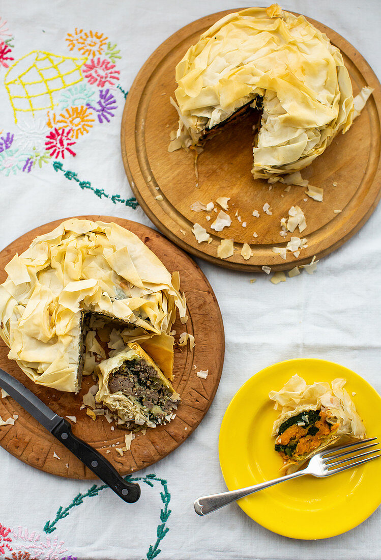 Puff pastry pies with pork and sweet potatoes