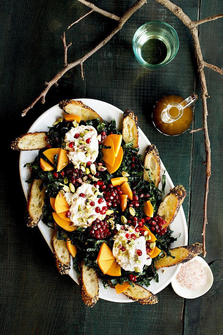 Kale Burrata Persimmon Salad with Balsamic Vinaigrette