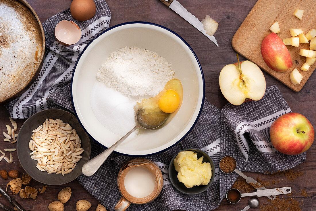 Ingredients for Norwegian apple pie (eplepai).