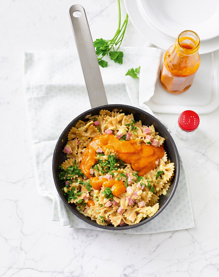 Ham and pasta with homemade tomato ketchup