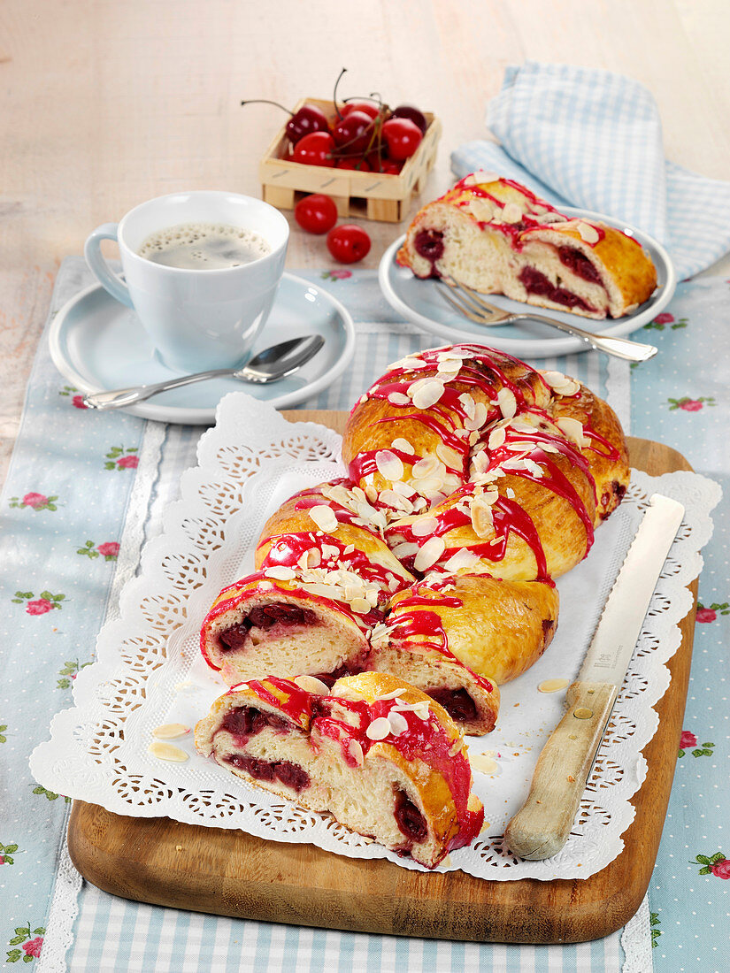 Yeast dough plait with a cherry filling