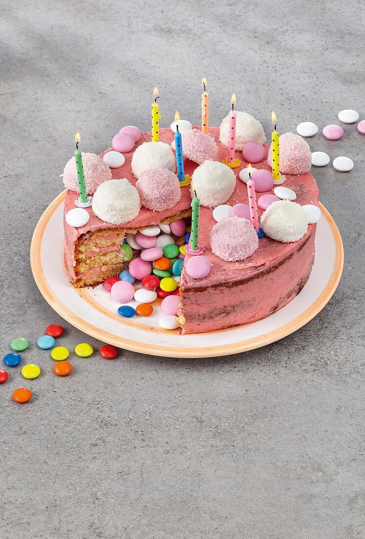 A pinata surprise birthday cake