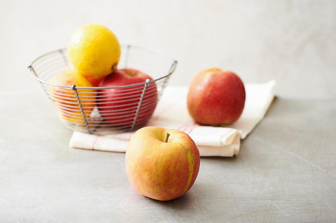 Fresh apples and lemons