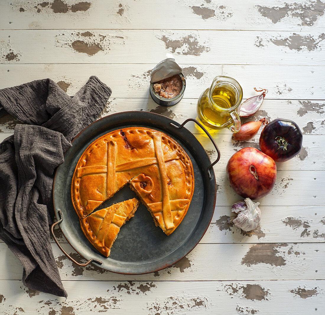 Empanada de atun gallega - Latin American filled pastry pie