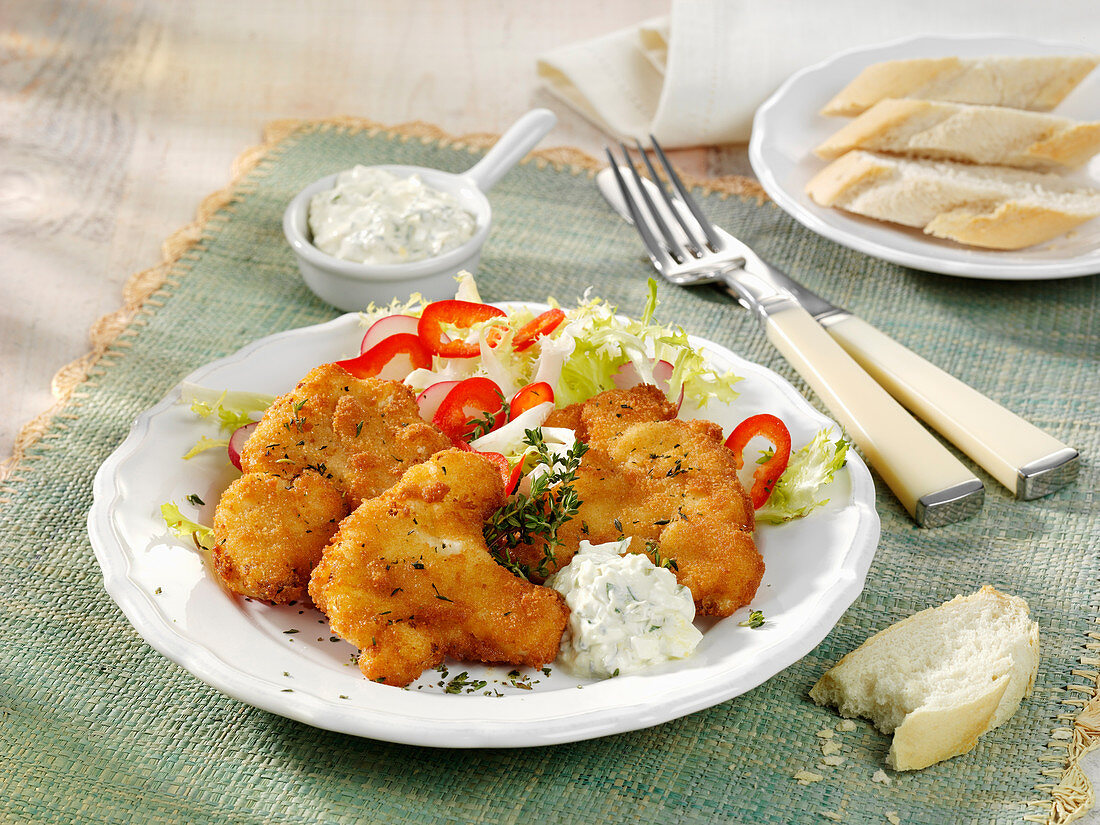 Deep-fried spicy cauliflower with a yoghurt and caper dip
