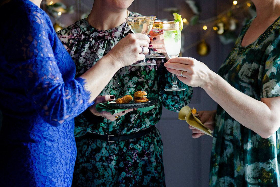 Christmas party with canapes and cocktails