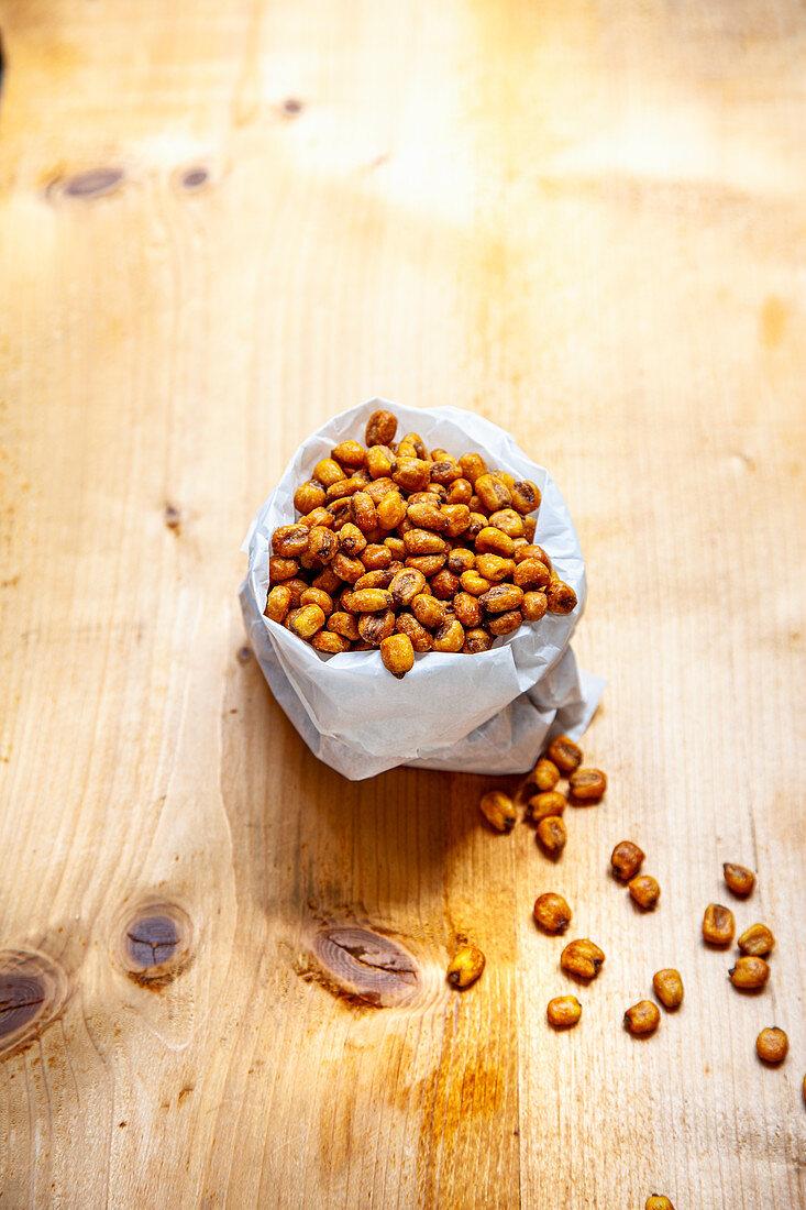 A bag of deep-fried salted corn kernels