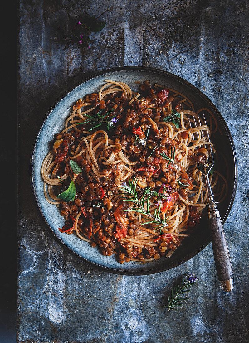 Spaghetti with lentil bolognese