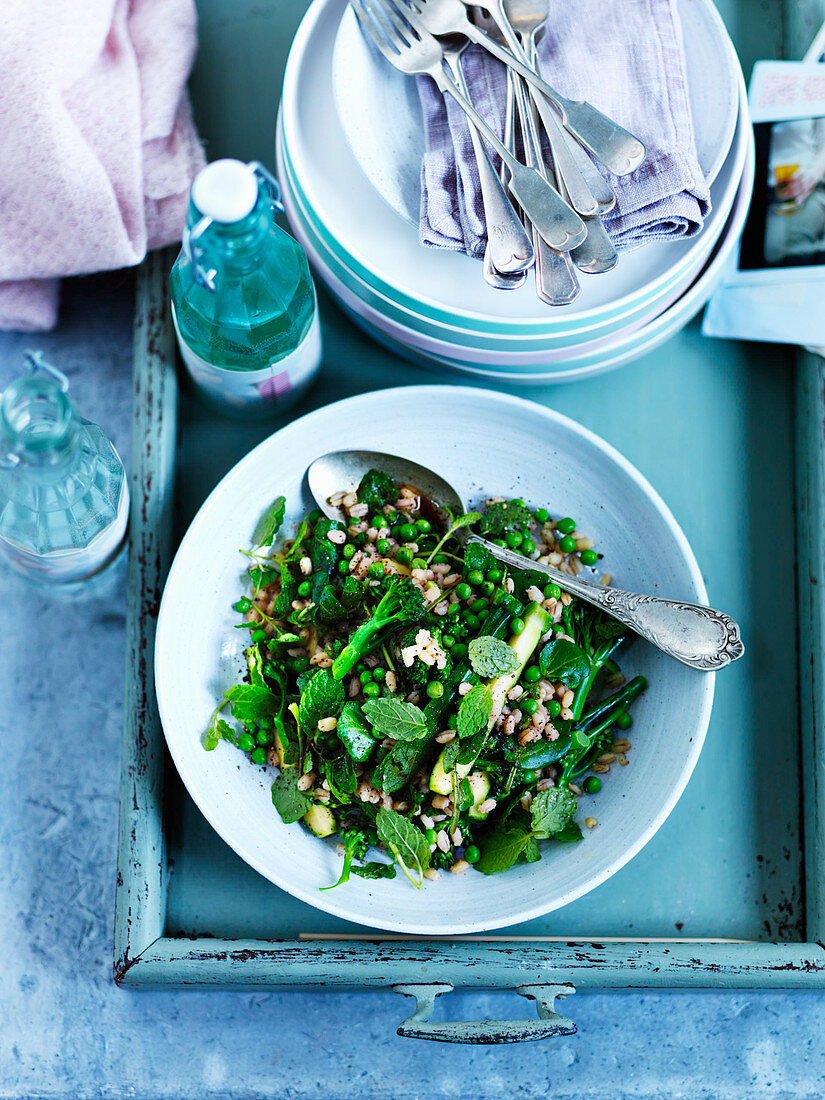 Green pearl barley salad with peas, mint, broccoli and courgettes