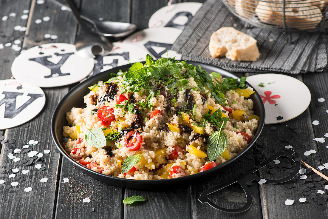 Couscous salad for a New Year's buffet