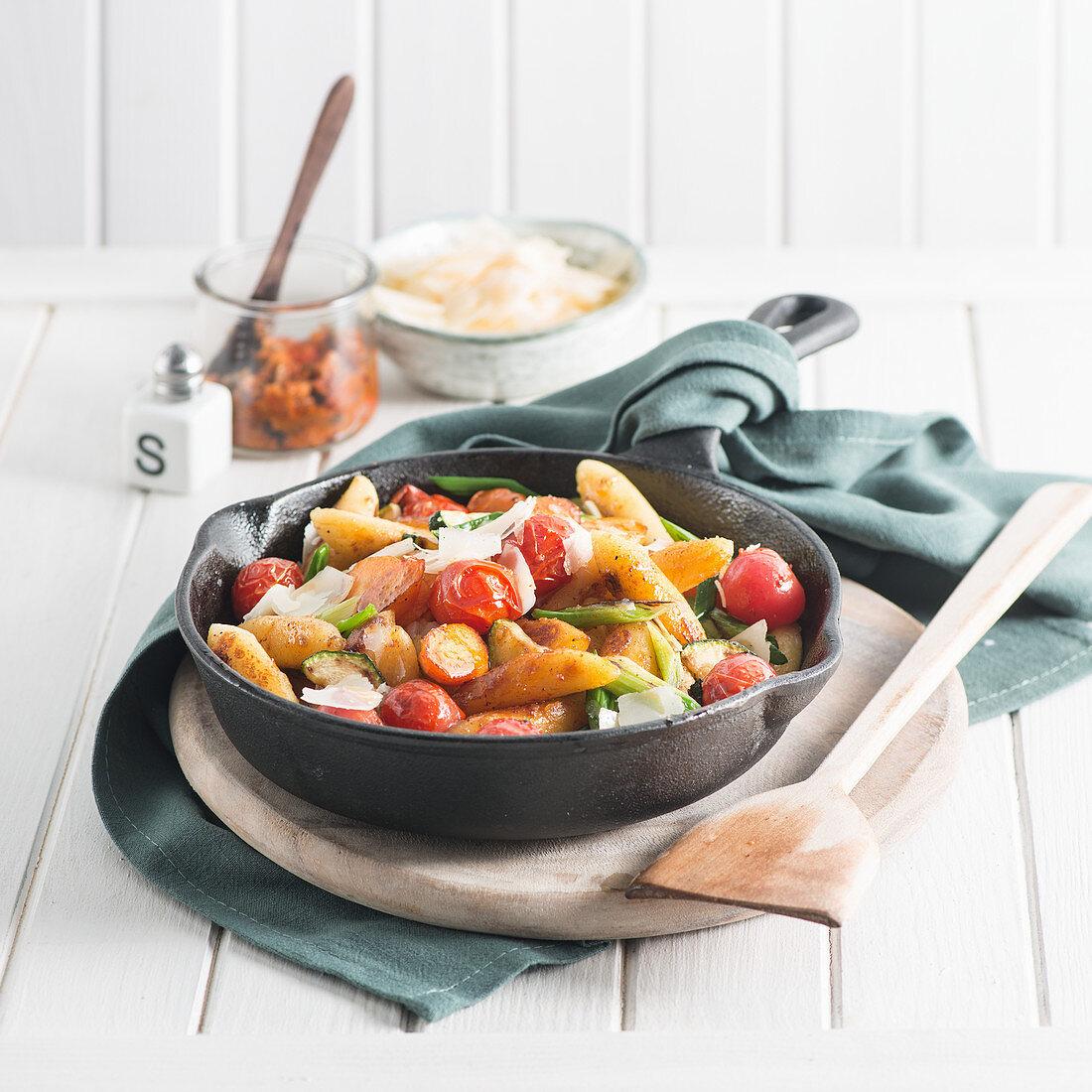 Potato orzo pasta with cherry tomatoes