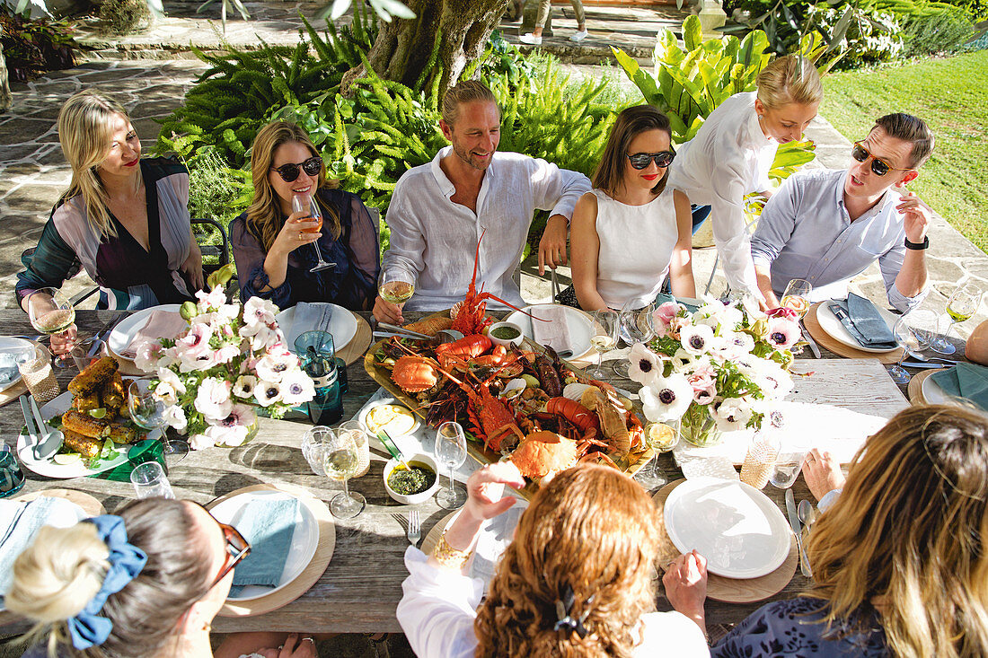 Friends at a seafood garden party