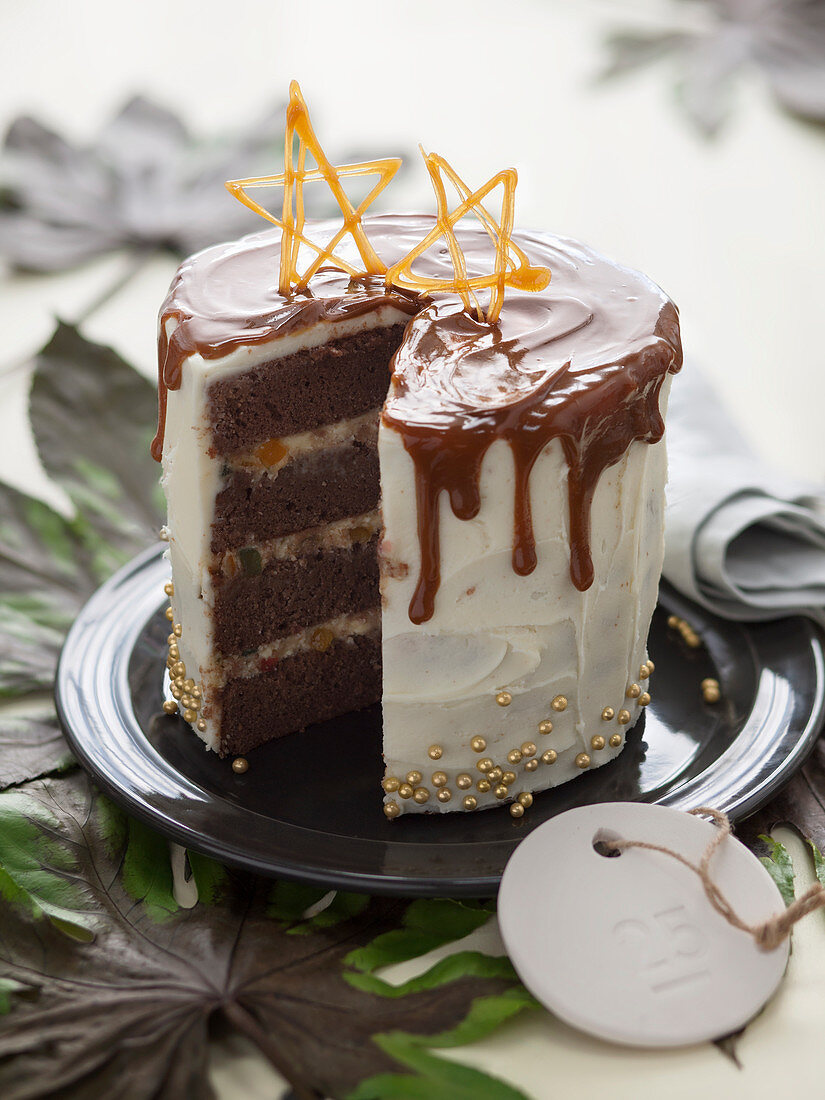 Chocolate spice cake with whiskey and caramel sauce