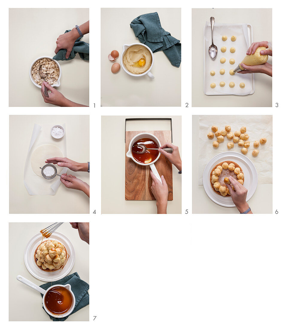 How to bake a croquembouche with cream, caramelized almonds and caramel threads