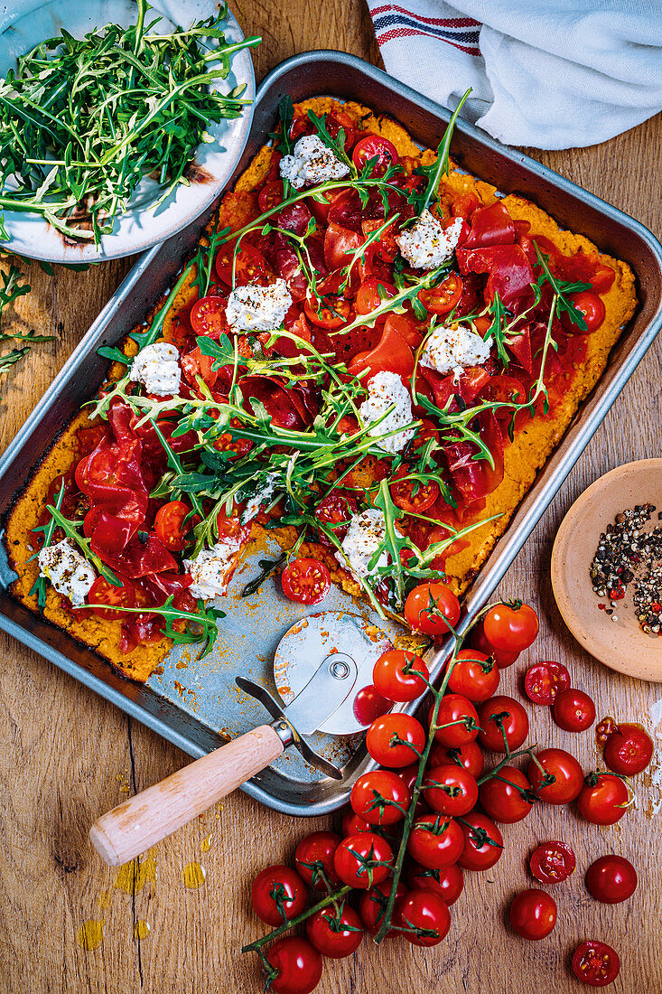 Sweet potato pizza with peppered ricotta and bresaola