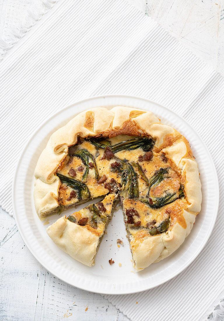 Artichoke quiche with salsiccia