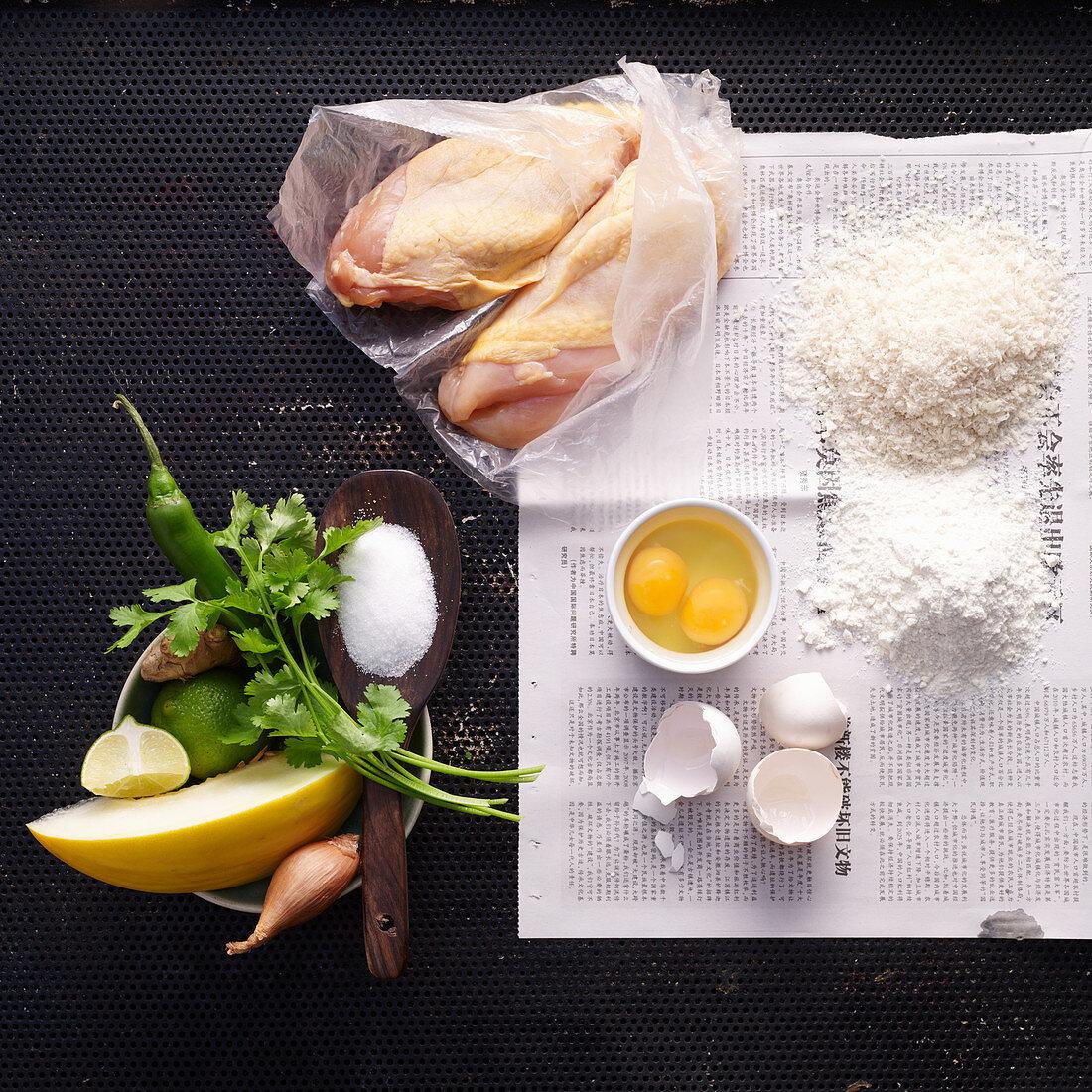 Ingredients for chicken sticks with melon salsa