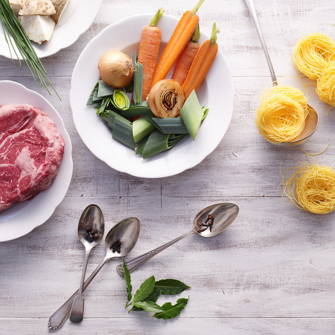 Ingredients for beef soup with noodles