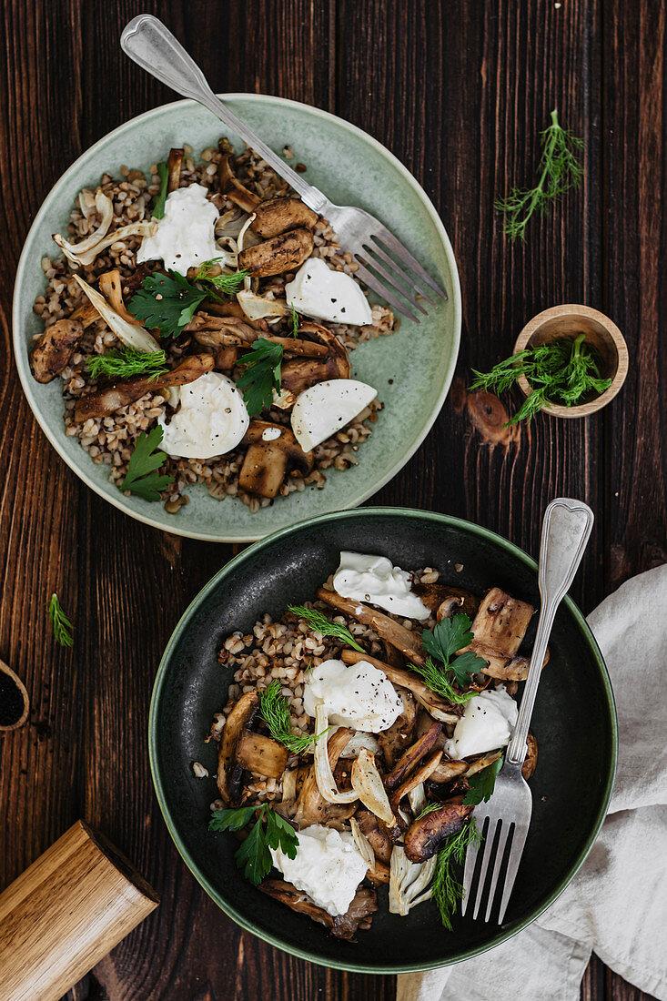 Buckwheat with Lentils, Mushrooms and Burrata