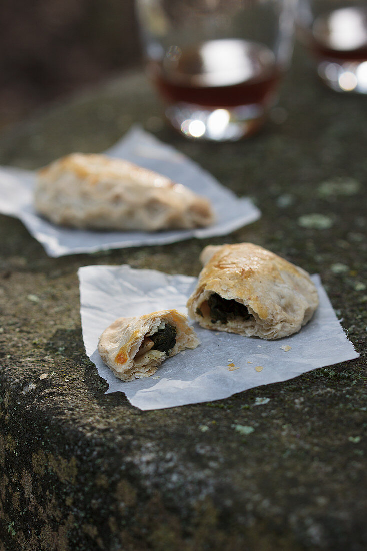 Empanada with spinach and pine nut filling