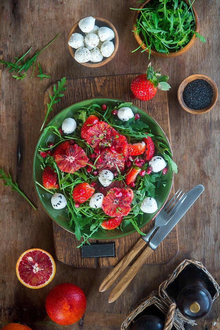 Strawberry blood orange salad with mozzarella