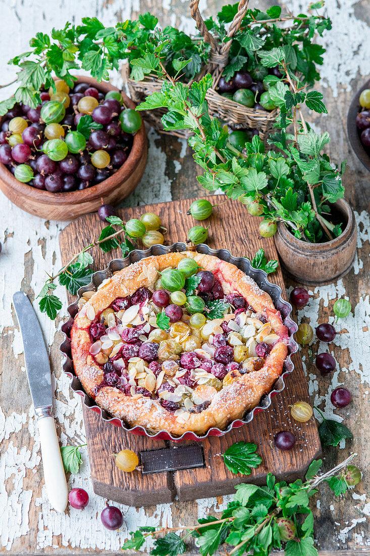 Gooseberry yeast almond cake