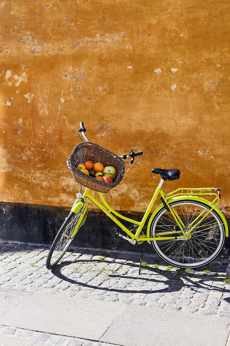 Various citrus fruits in a bicycle basket