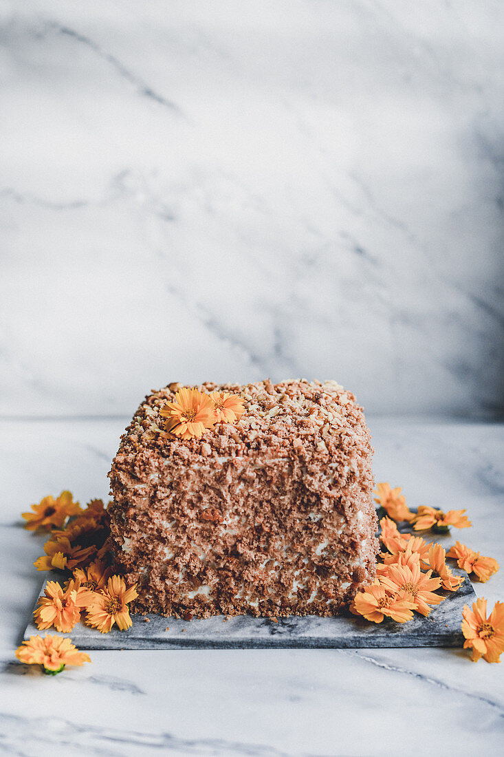 Honey sponge cake with apricots