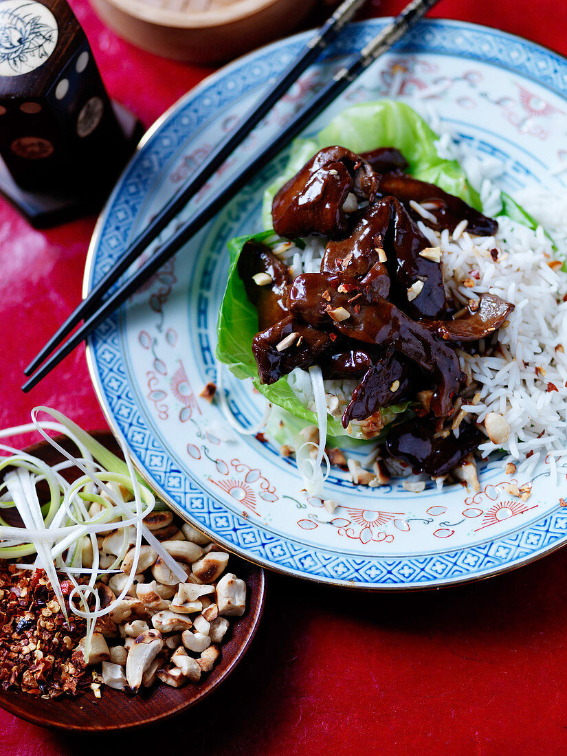 Asien soy beef with rice