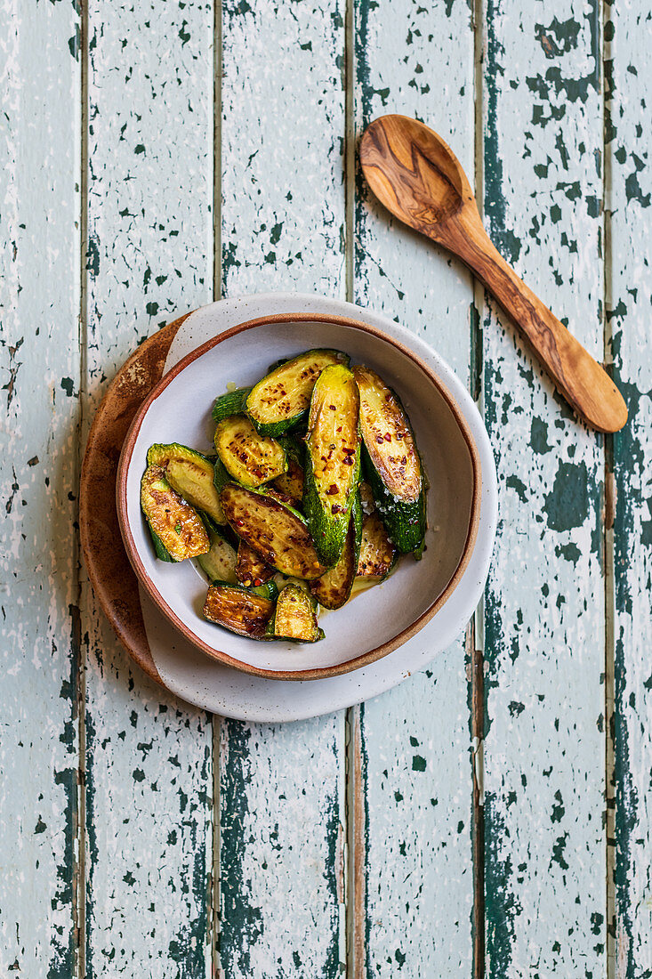 Fried Zucchini with Chili Flakes