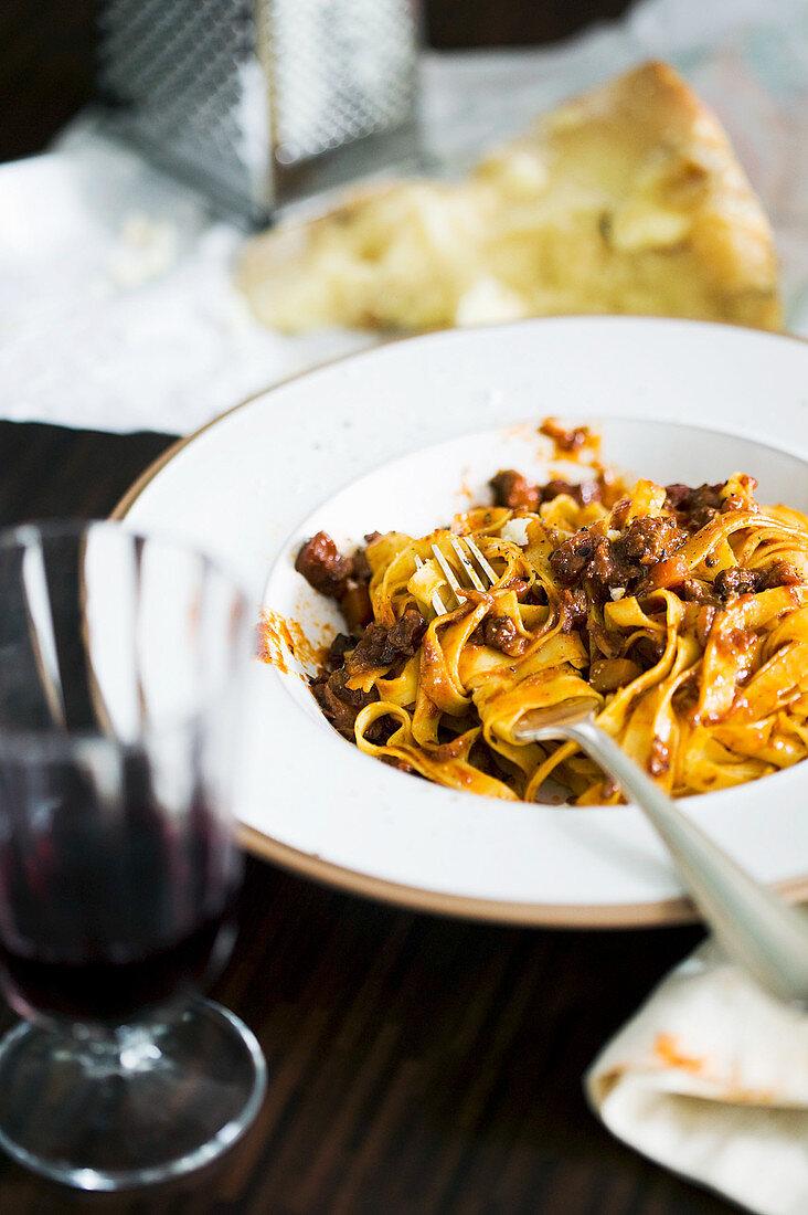 Italian tagliatelle with meat sauce