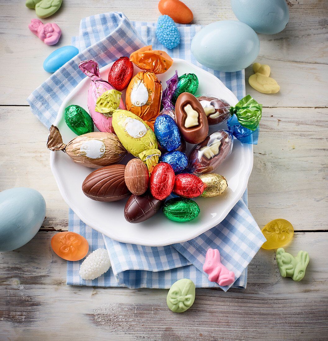 Easter sweets on a plate