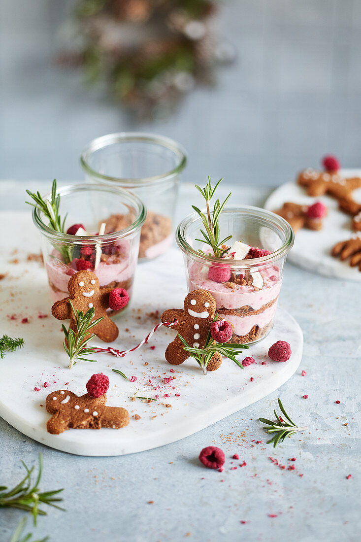 Raspberry and coconut cream and gingerbread men