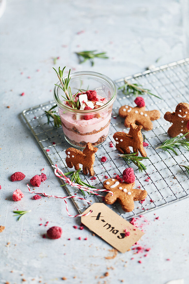 Gingerbread men and gingerbread deer, and a raspberry and coconut dessert with rosemary