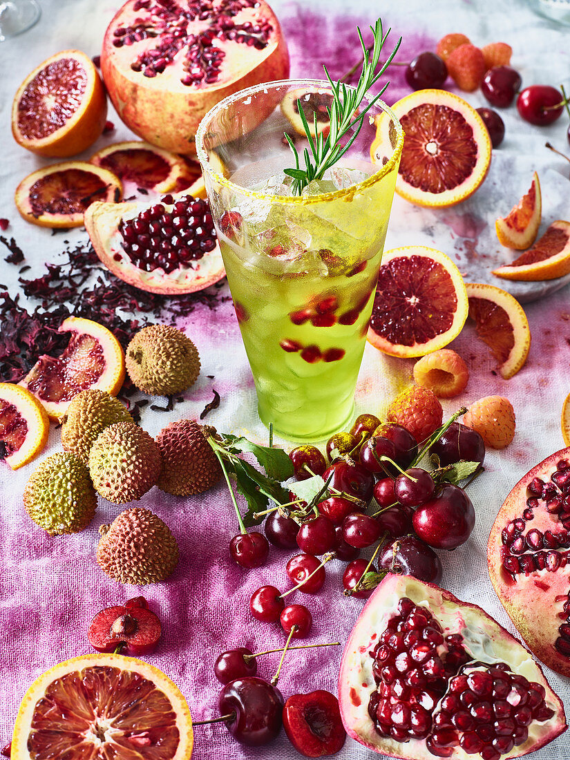 Aromatic cocktail with pomegranate and blood orange