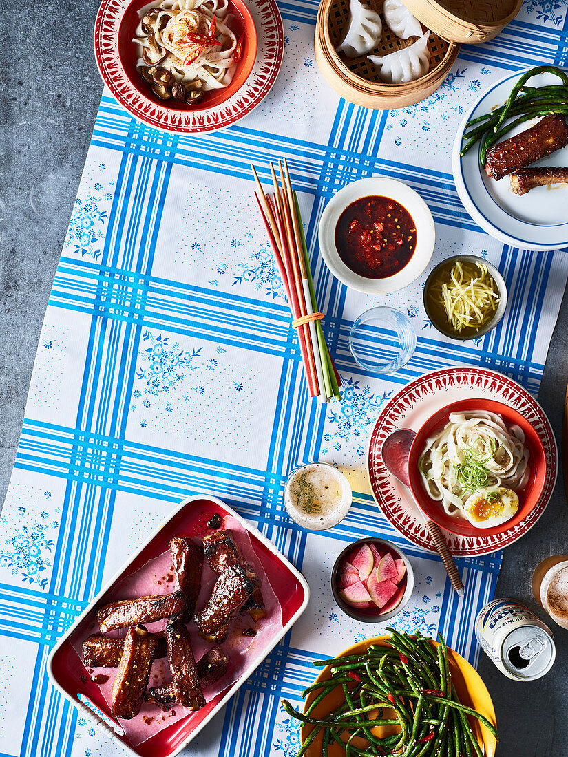 Asian spareribs, dim sum and Asian noodles