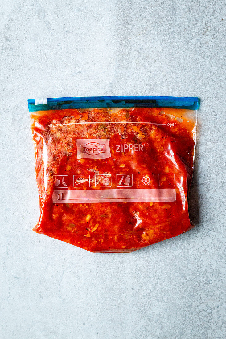 Homemade vegetarian Bolognese sauce in a zip freezer bag