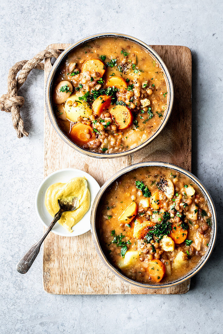 Vegetarian lentil soup with potatoes and carrots
