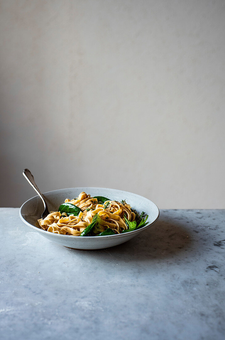 Homemade Tagliatelle with Spinach