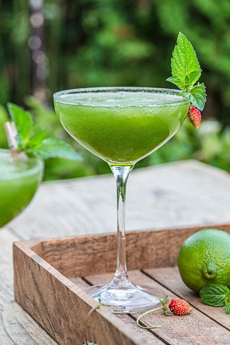 Green margarita cocktail