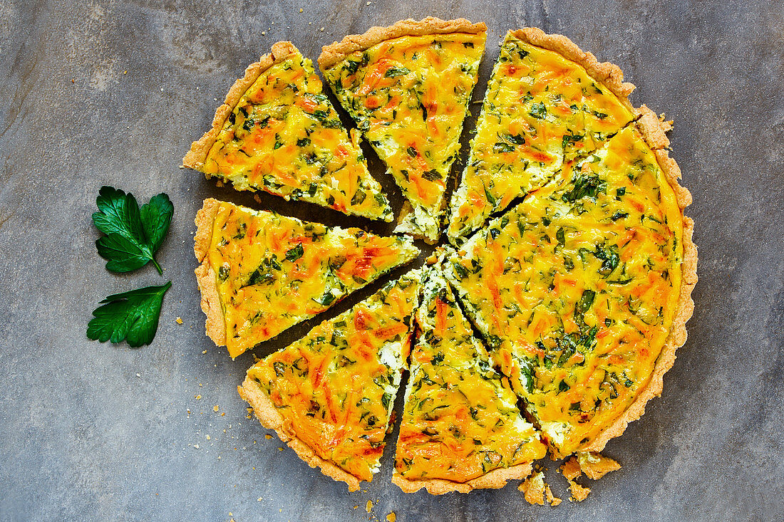 Cheese quiche with fresh herbs