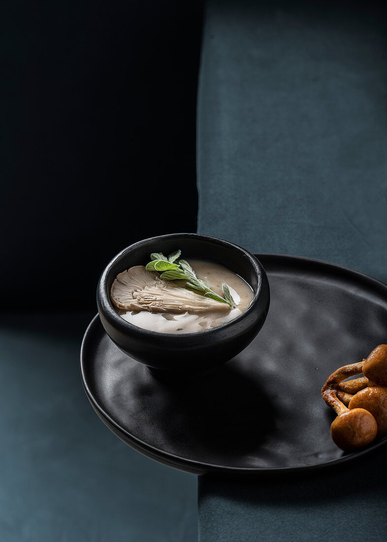 Mushroom soup with oyster mushrooms