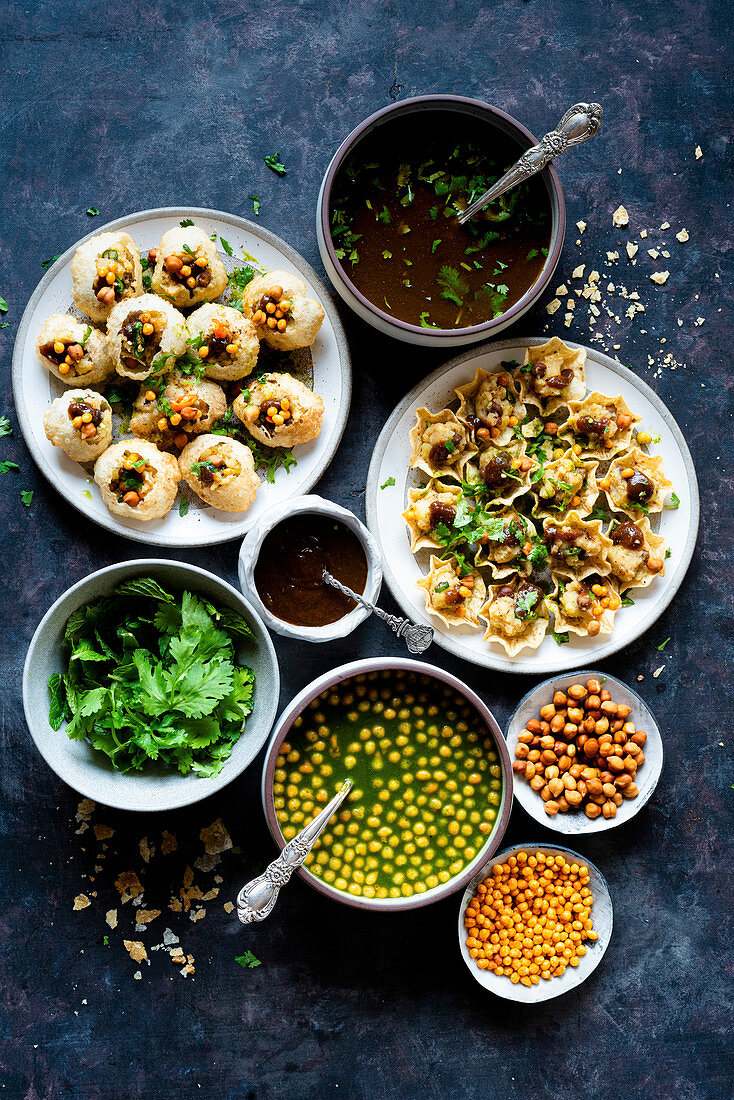 Panipuri with ingredients (Indian street food)