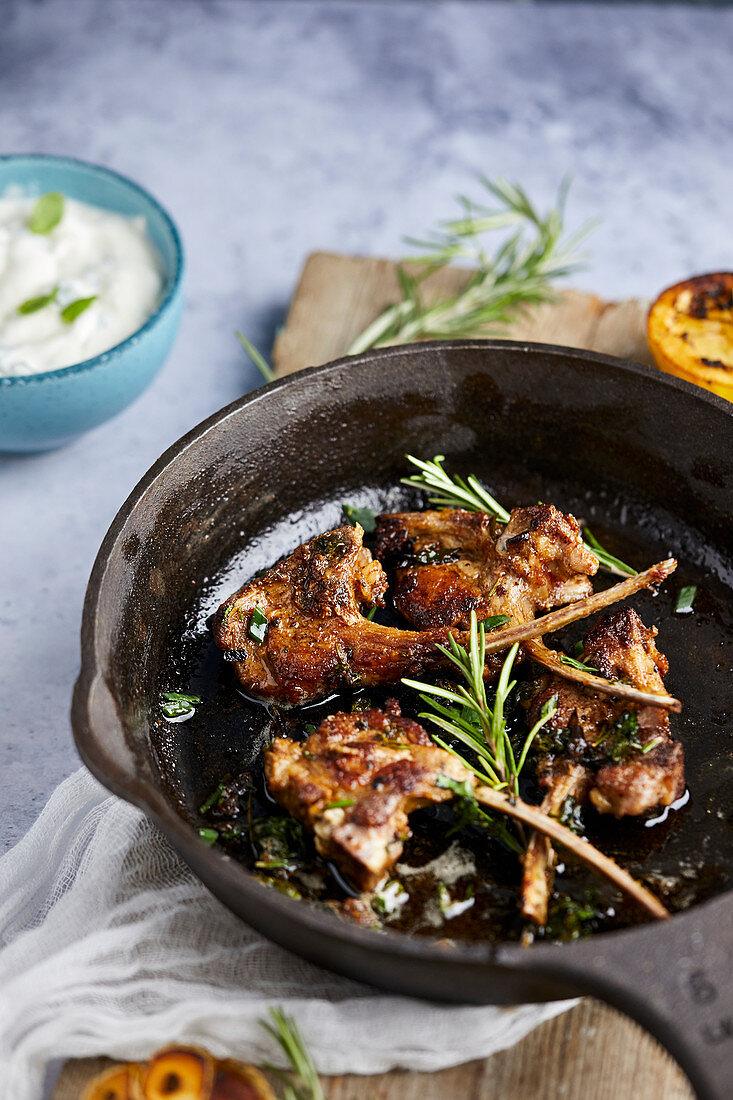 Roast lamb chops with rosemary