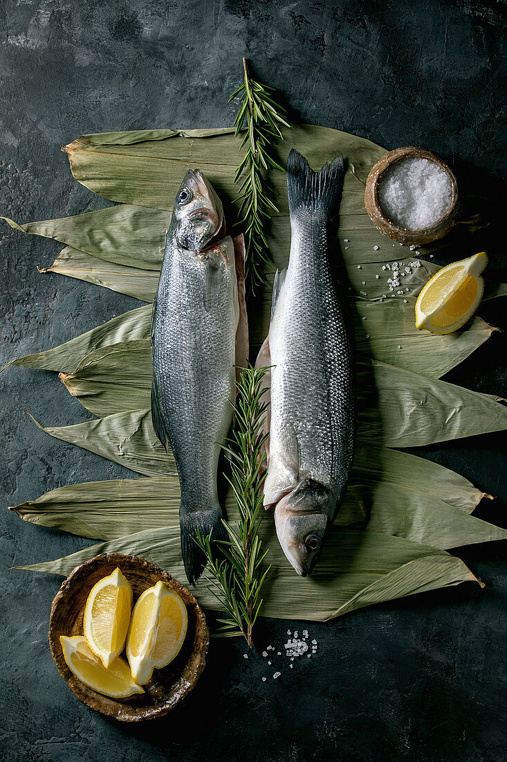 Raw fresh uncooked fish sea bass on dry bamboo leaves ready to cook with lemon, sea salt and rosemary